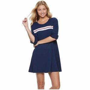 So Roll Tab French Terry Navy Blue Dress L NWT